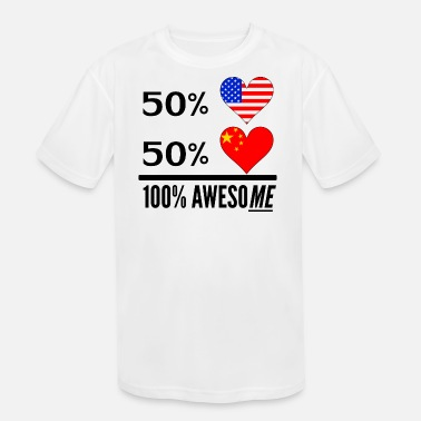 Half Chinese Half American Half Chinese 100% Awesome - Kids' Moisture Wicking Performance T-Shirt