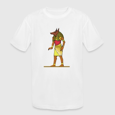 Ancient Egyptian Painting - Anubis, the Wolf God - Kid's Moisture Wicking Performance T-Shirt