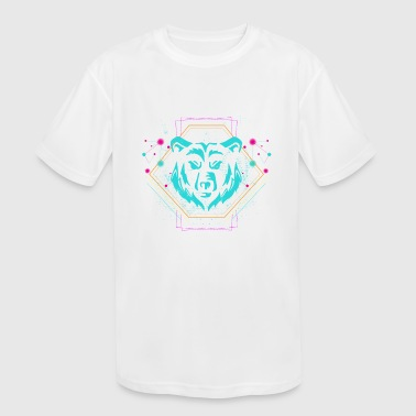 Neon Trance Geometric Bear - Party EDM Techno Neon Gift - Kid's Moisture Wicking Performance T-Shirt