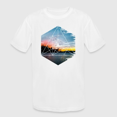 Geometric Landscape - Beautiful Scenery Dawn Dusk - Kid's Moisture Wicking Performance T-Shirt