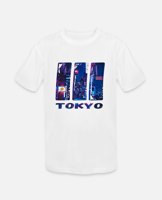"Nightlife T-Shirts - Tokio City by ""Sikeazt"" - Kids' Sport T-Shirt white"