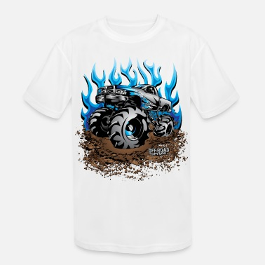 Mud Mud Truck Blue Flame - Kids' Sport T-Shirt
