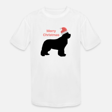 Christmas Design Newfie with Santa Hat - Kids' Sport T-Shirt
