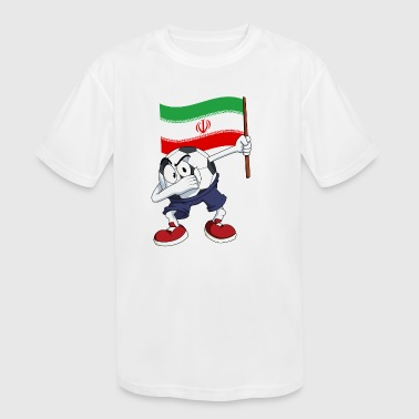 Iran Dabbing Soccer Ball - Kid's Moisture Wicking Performance T-Shirt