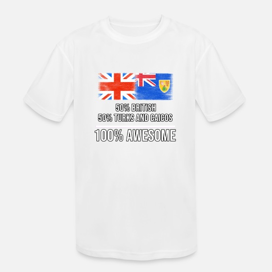England T-Shirts - 50% British 50% Turks And Caicos 100% Awesome - Kids' Sport T-Shirt white