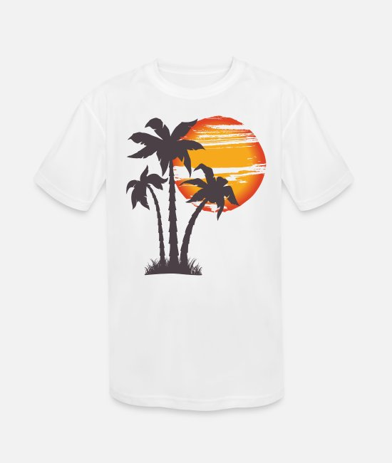 Palm Trees T-Shirts - Beach Gift Summer Sunset Palm Tree Vacation - Kids' Sport T-Shirt white