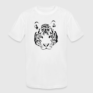 White Tiger Black Print - Kid's Moisture Wicking Performance T-Shirt
