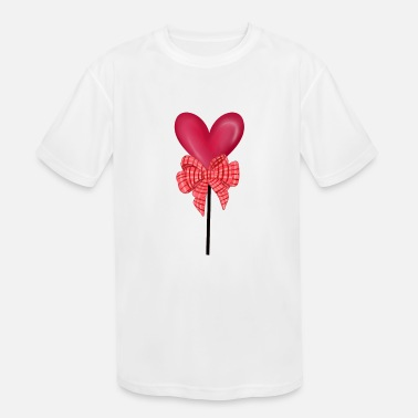 Stomach Valentine's Balloon With Bow - Kids' Sport T-Shirt