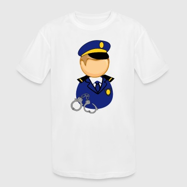 cute little police man - Kid's Moisture Wicking Performance T-Shirt