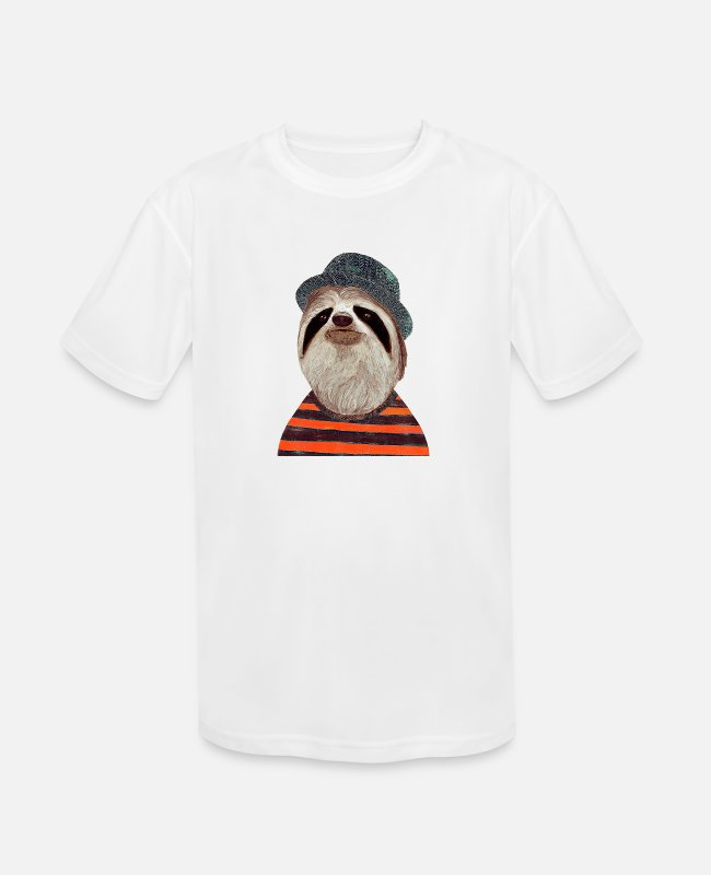 Lazy T-Shirts - sloth party - Kids' Sport T-Shirt white