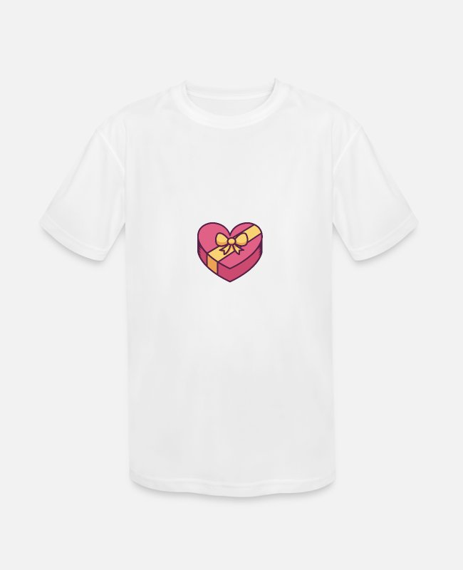 Pink T-Shirts - Heart Shaped Gift Box With Bow - Kids' Sport T-Shirt white