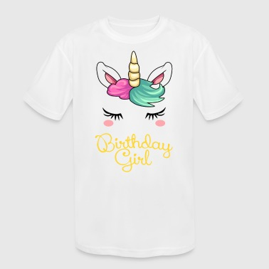 Birthday Girl Unicorn - Kids' Moisture Wicking Performance T-Shirt