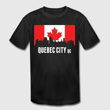 Canadian Flag Quebec Skyline - Kid's Moisture Wicking Performance T-Shirt