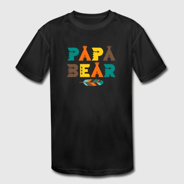 Papa Bear T-Shirt - Indian Feather Tipi Tent Dad - Kid's Moisture Wicking Performance T-Shirt