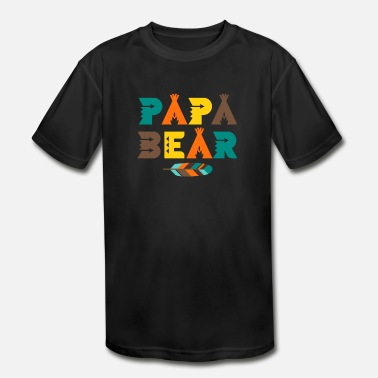 Papa Bear T-Shirt - Indian Feather Tipi Tent Dad - Kids' Moisture Wicking Performance T-Shirt