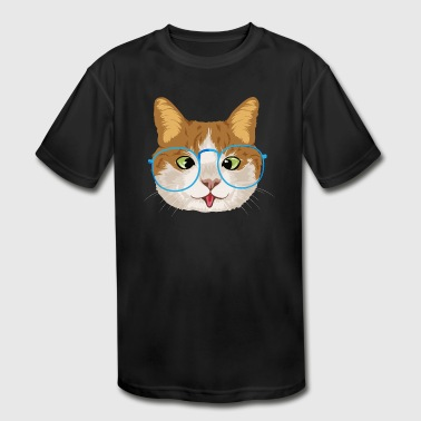 Funny Cat with Glasses / Katze - Kid's Moisture Wicking Performance T-Shirt