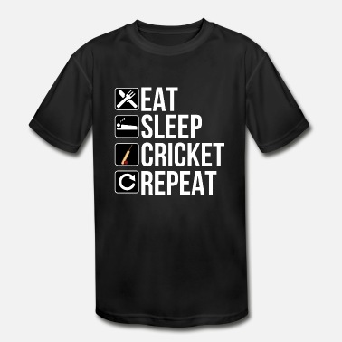 Cricket Player Gift - Eat Sleep Cricket Repeat - Kids' Moisture Wicking Performance T-Shirt