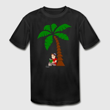 Boy Is Reading Under A Palm - Kid's Moisture Wicking Performance T-Shirt