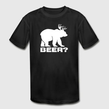 Beer Deer Bear Funny - Kid's Moisture Wicking Performance T-Shirt