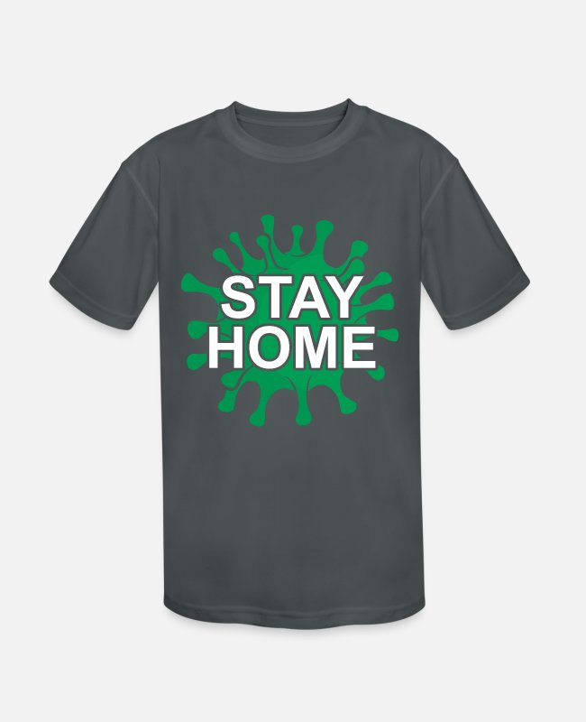 Infection T-Shirts - Stay At Home Social Coronavirus Covid Tshirt - Kids' Sport T-Shirt charcoal