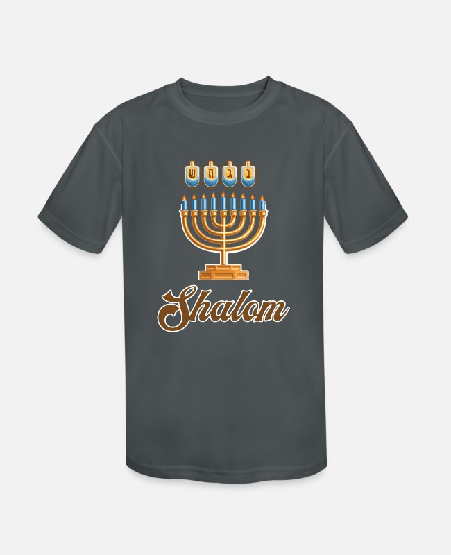 TV T-Shirts - Shalom | Happy Hanukkah - Kids' Sport T-Shirt charcoal