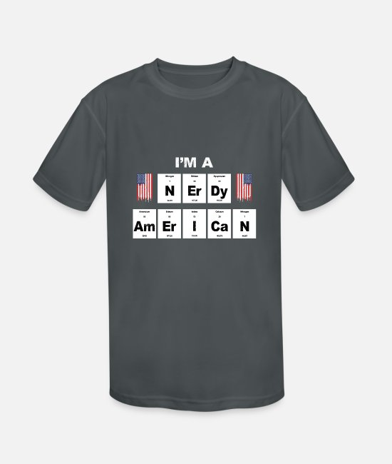 Usa T-Shirts - I'm a nerdy american - Gift idea for nerds & geeks - Kids' Sport T-Shirt charcoal