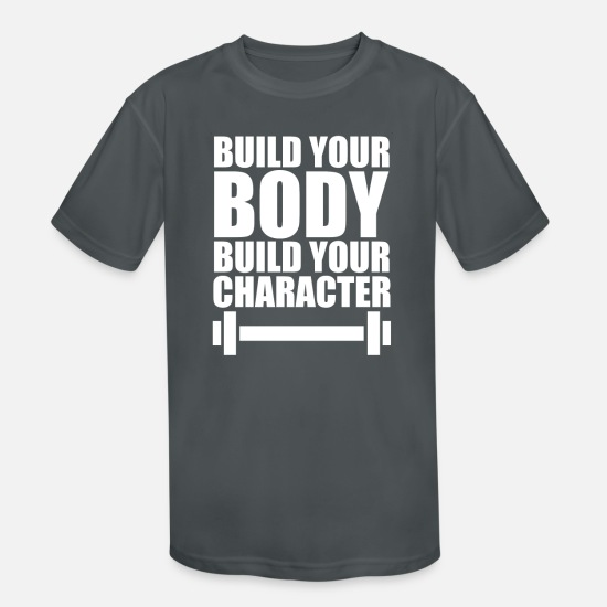 Art T-Shirts - Build Your Body Build Your - Kids' Sport T-Shirt charcoal