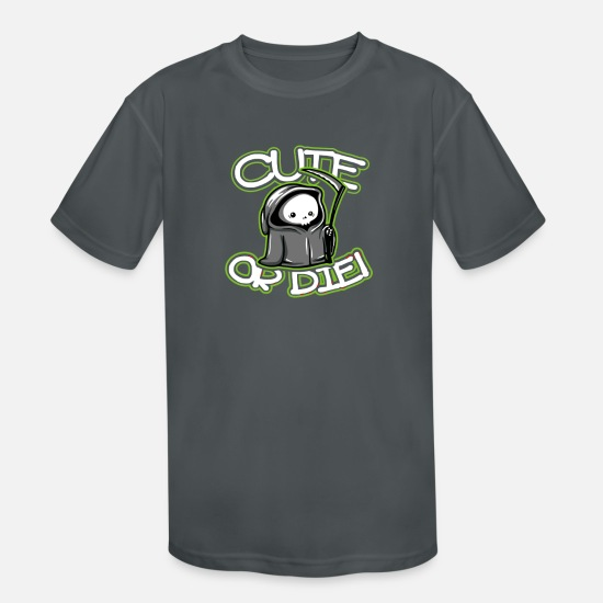 Die T-Shirts - Cute or Die - Kids' Sport T-Shirt charcoal