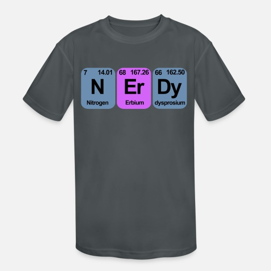 Biology T-Shirts - NERDY PERIODIC TABLE - Kids' Sport T-Shirt charcoal