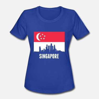 Singaporean Singaporean Flag Singapore Skyline - Women's Moisture Wicking Performance T-Shirt