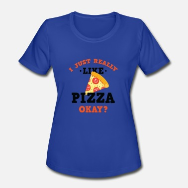 Purple Funny Funny I Just Really Like Pizza Okay? T-Shirt - Women's Sport T-Shirt
