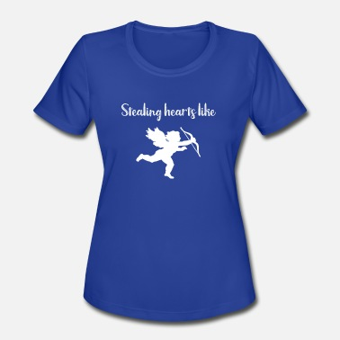 Barrel Racing Kids Race Valentine Stealing Hearts Like Cupid - Women's Moisture Wicking Performance T-Shirt