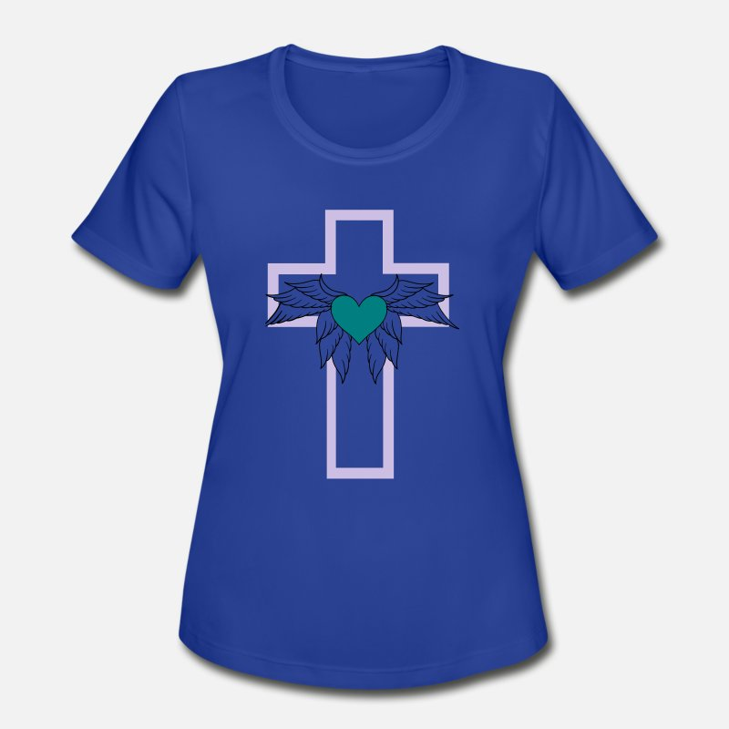 Bible T-Shirts - Heart cross wing - Women's Sport T-Shirt royal blue