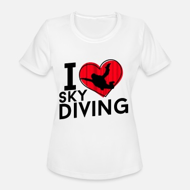 I Love Sky Diving T-Shirt Womens Heart