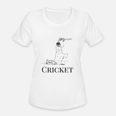 Cricket Designs Cricket Batsman Cricketer Design Logo Style - Women's Moisture Wicking Performance T-Shirt
