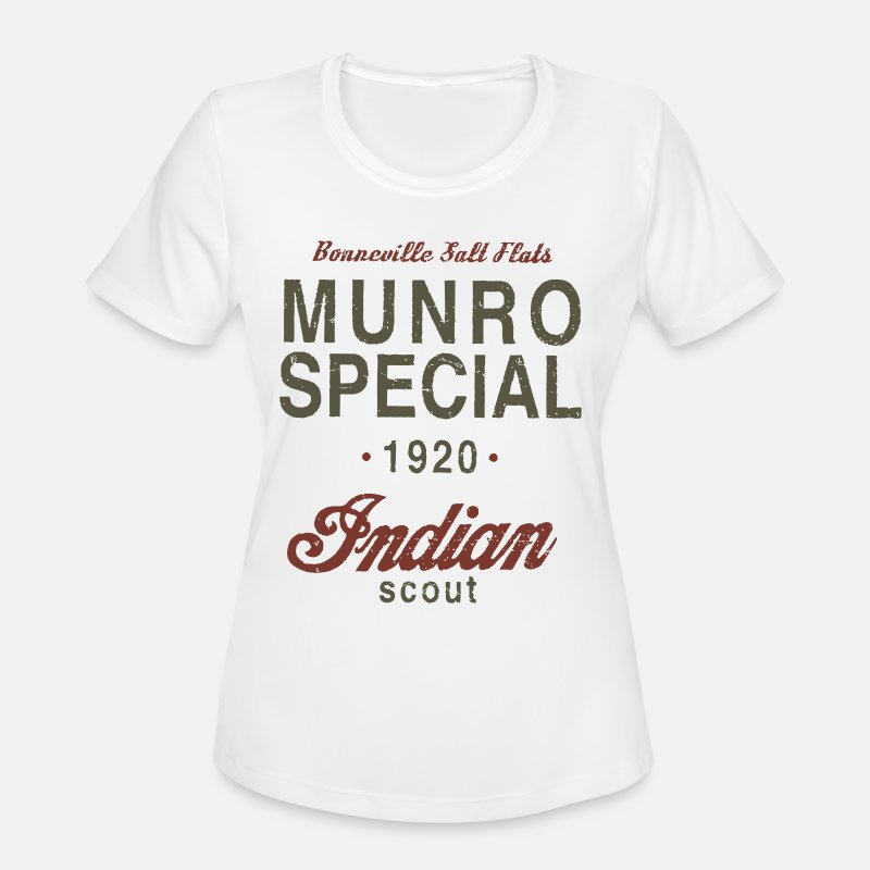 Gt Mountain Bikes T-shirts T-Shirts - Munro Special 1920 Speed Record Indian Bike - Women's Sport T-Shirt white