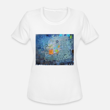 spreading blue square abstract - Women's Sport T-Shirt