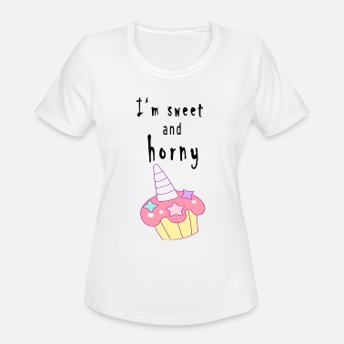 Horny Kids Sweet Horny Cup Cake - Women's Moisture Wicking Performance T-Shirt