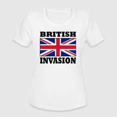 Invasion British Invasion with Union Jack Flag Poster - Women's Moisture Wicking Performance T-Shirt