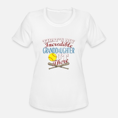 Granddaughter Softball Granddaughter, Grandpa & Grandma Gift - Women's Moisture Wicking Performance T-Shirt