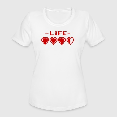 8-bit Hearts 8 Bit Life Hearts - Women's Moisture Wicking Performance T-Shirt