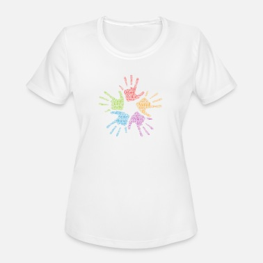 Word Cloud Art words cloud hands sun - Women's Moisture Wicking Performance T-Shirt