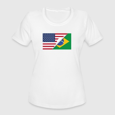 Half American Half Brazilian Flag - Women's Moisture Wicking Performance T-Shirt