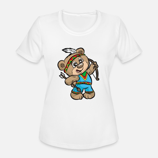 American T-Shirts - CUTE INDIAN BEAR Bow and Arrow Native American - Women's Sport T-Shirt white