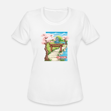 Japanese Pixel Leave the road Take the trails, 90's pixel Japanes - Women's Sport T-Shirt