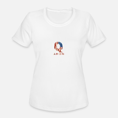 Q Anon Patriotic Distressed Flag Tee Shirt - Women's Moisture Wicking Performance T-Shirt