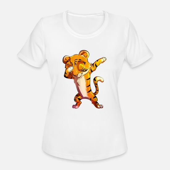Cute T-Shirts - Cute Dabbing Tiger T Shirt Big Cat Cub Animal Gi - Women's Sport T-Shirt white