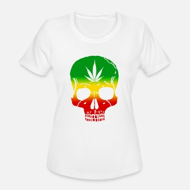 Pot Leaf Rasta Skull Pot Leaf - Women's Moisture Wicking Performance T-Shirt
