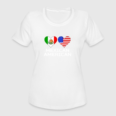 Mexican Heart Mexican American Hearts - Women's Moisture Wicking Performance T-Shirt