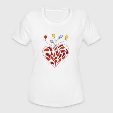 Balloon With Heart heart with balloons - Women's Moisture Wicking Performance T-Shirt